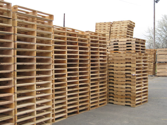 Three runner wooden pallets ready for shipping